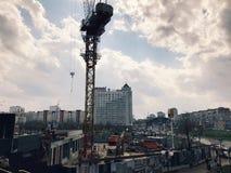 建筑业工程师工作产业城市背景 库存照片