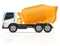 建筑传染媒介例证的卡车混凝土搅拌机 免版税库存照片