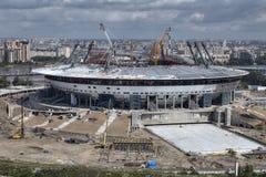 建筑体育设施顶视图,新的现代橄榄球 免版税库存照片
