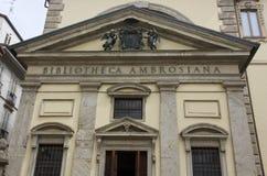 建筑关闭Biblioteca Ambrosiana大厦 免版税图库摄影