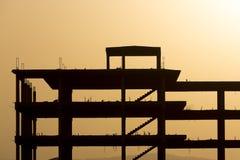 建筑剪影有橙色日落的在Venzuela 库存图片