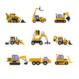 建筑器材压路机,挖掘机 库存例证