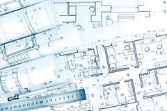建筑图画劳斯与铅笔和统治者的 免版税库存图片