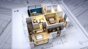 建筑图画被改变的3D房子内部 库存例证