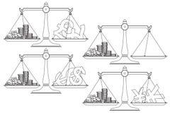 建筑在向量之下的例证股票 线图表 在平衡的货币 免版税库存图片