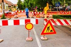 建筑垄沟安装道路工程 库存图片
