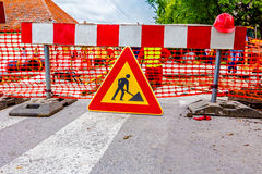 建筑垄沟安装道路工程 免版税图库摄影