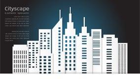 建筑大厦和都市风景背景的纸艺术样式 库存例证