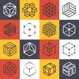 建筑学和内部演播室或者建筑公司线与3D等量立方体的商标模板 向量例证