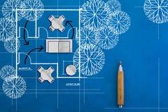 建筑学图纸和房子计划乱画  免版税库存照片
