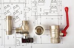建筑学图纸计划和卷  图库摄影