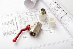 建筑学图纸计划和卷  免版税图库摄影