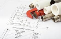 建筑学图纸计划和卷  库存照片