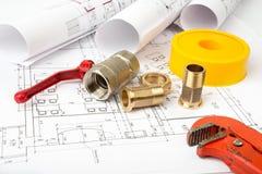 建筑学图纸计划和卷  免版税库存图片