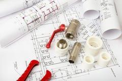 建筑学图纸计划和卷  免版税库存照片