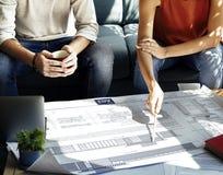 建筑学图纸经营研究战略概念 图库摄影