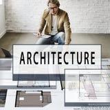 建筑学布局图纸修造修建概念 库存照片