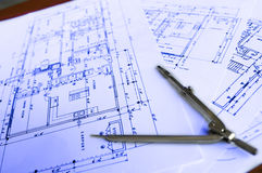 建筑学计划工作4 库存照片