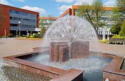 建筑学,罗兹,波兰-都市公开喷泉 图库摄影