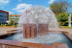 建筑学,罗兹,波兰-都市公开喷泉 库存图片