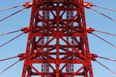 建筑学,负担吊桥,钢索 库存照片