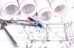 建筑学滚动体系结构计划项目建筑师 免版税库存照片