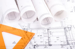 建筑学滚动体系结构计划项目建筑师 免版税图库摄影