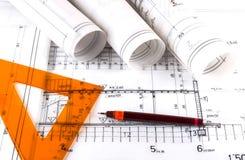 建筑学滚动体系结构计划建筑师图纸 库存图片