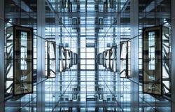 建筑学细节现代几何玻璃钢门面大厦 免版税库存照片