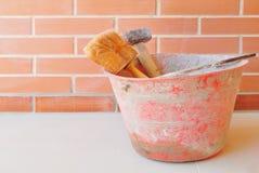 建筑室内漆滚筒工具墙壁 免版税库存图片