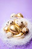 筑巢用在淡紫色背景复活节的鸡蛋 库存照片