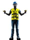 建筑工人信号安全背心延伸b 库存照片