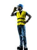 建筑工人叫喊的安全背心剪影 库存图片