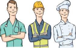 医治建筑工人和厨师有胳膊横渡的微笑的 免版税库存照片
