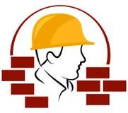 建筑工人商标 皇族释放例证