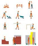 建筑工人字符企业配合传染媒介 免版税库存照片