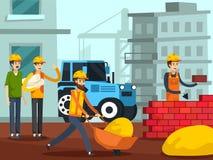 建筑工人字符平的海报 皇族释放例证