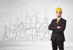 建筑工人有都市风景背景 免版税库存图片