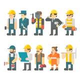 建筑工人集合平的设计  库存例证