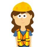 建筑工人,妇女在工作服和安全传染媒介穿戴了 库存照片