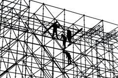 建筑工人黑白剪影  图库摄影