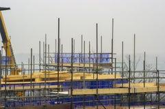 建筑工地脚手架地平线 免版税库存照片