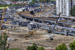 建筑工地,建筑高架桥运输互换,鲁斯 图库摄影
