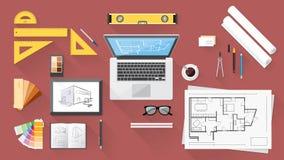 建筑师书桌 库存例证