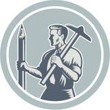 建筑师减速火箭制图员的圈子 免版税图库摄影