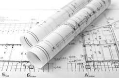建筑师卷和计划 免版税库存照片