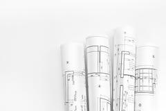 建筑师卷和计划 免版税库存图片