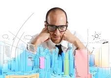 建筑师和新的项目 免版税库存图片