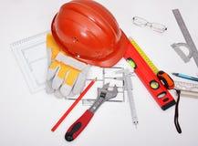 建筑师图纸大厦工具工作 免版税图库摄影