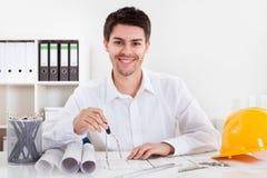建筑师图纸工作 免版税库存照片